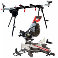 """Excel 255mm 10"""" Compound Sliding Mitre Saw Double Bevel 2000W with Universal Wheel Stand"""