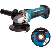 Makita DGA452Z 18V LXT 115mm Angle Grinder Body With 115mm Flap Disc