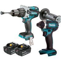 Makita 18V Cordless Combi Drill & Impact Driver With 2 x 5Ah Batteries:18V