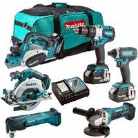 Makita 18V 6 Piece Power Tool Combo Kit with 3 x 5.0Ah Batteries T4TKIT-227:18V