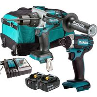 Makita 18v Combi Drill + Impact Driver + 2 x 5.0Ah & Charger + Bag:18V