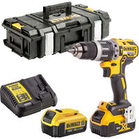 Dewalt DCD796N 18V Brushless Combi Drill 2 x 4.0Ah Batteries Charger & Tool Box:18V