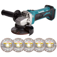 Makita DGA452Z 18V LXT 115mm Angle Grinder with 5 x 115mm Diamond Cutting Discs