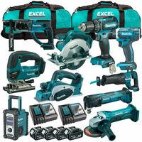 Makita MAK10PC 18V LXT 10 Piece Power Tool Kit 4 x 5.0Ah Batteries Charger & Bag:18V