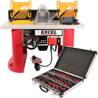Excel Table Router Cutter 240V with 1/4in Shank Router Cutter Bit 35 Piece Set