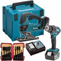 Makita DLX2134TJ 18V Li-Ion Twin Kit 2 x 5.0Ah with 5 Piece Auger Drill Bit Set:18V