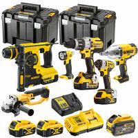 Dewalt 18V Li-ion 6 Piece Power Tool Kit with 5 x Batteries & Charger in Case:18V