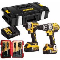 DeWalt DCK276P2T 18V Brushless Twin Pack 2 x 5Ah & 5 Piece Auger Drill Bit Set:18V