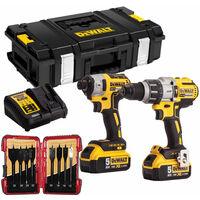 DeWalt DCK276P2T 18V Brushless Twin Pack 2 x 5Ah with 8 Piece Flat Drill Bit Set:18V