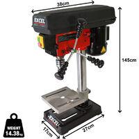 Excel Pillar Drill Bench Press 13mm Chuck 5-Speed 300W/230V