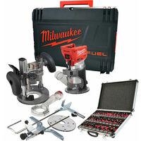 """Milwaukee M18FTR-0 18V Brushless Trim Router in Case + 1/4"""" 35 Piece Cutter Set:18V"""