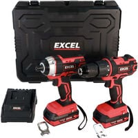Excel 18V Impact Driver & Combi Drill with 2 x 2.0Ah Battery Charger in Case EXL5145:18V
