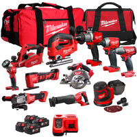 Milwaukee 18V Cordless 11 Piece Tool Kit with 4 x Batteries & Smart Charger in Bag:18V