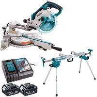 Makita DLS713Z 18V LXT Mitre Saw + 2 x 5Ah Batteries + Charger + Stand