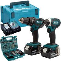 Makita DLX2131TJ 18V LXT Twin Kit 2 x 5.0Ah Batteries with 101 Piece Drill Set