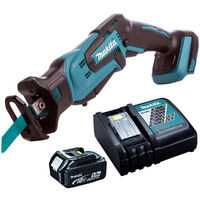 Makita DJR185Z 18V Mini Reciprocating Saw With 1 x 5.0Ah Battery & Charger:18V