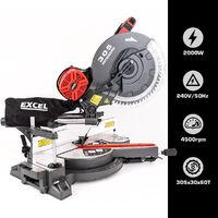 """Excel 12"""" 305mm Sliding Mitre Saw Double Bevel 2000W/240V with Laser:240V"""