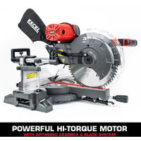 Excel 305mm Mitre Saw 240V Sliding Double Bevel 2000W with Universal Wheel Stand