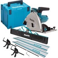 Makita SP6000J1 240V 165mm Plunge Saw with 2 x Rails, Connector Bar, Clamp & Bag