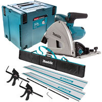 Makita SP6000J1 110V 165mm Plunge Saw with 2 x Rails, Connector Bar, Clamp & Bag
