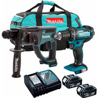 Makita 18V SDS+ Rotary Hammer + Combi Drill Twin Kit with 2 x 5.0Ah Battery Charger & Bag