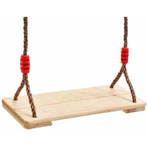 Balancoire siege Bois 45*19cm Bouleau Jouet Jeux Pour Enfant Adulte Jardin Max.150Kg