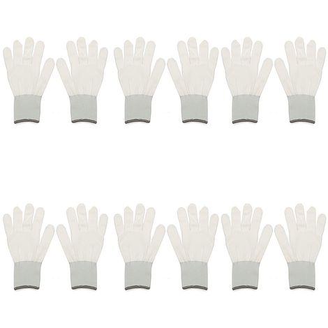 6 Paires De Gants De Coton Blancs Teint��s L'Application D'Application Pour L'Autocollant De Vinyle D'Enveloppe De Voiture