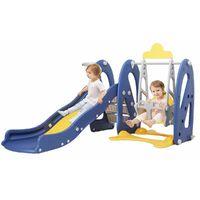 4in1 Toboggan avec Petit Balancoire pour enfant Aire de Jeux 2-8 Ans 190x150x125cm Bleu