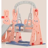 Toboggan avec Petit Balancoire pour enfant Aire de Jeux 2-8 Ans 142x135x110cm Rose