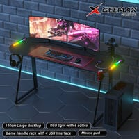 GEEMAX Gaming Bureau de Gaming 140 x 60 x 75 cm 6 Lumière LED Avec Porte Gobelet Support de Poignée Noir