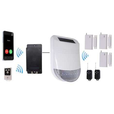 HY Solar Wireless Siren House Alarm Kit 1 with Battery GSM Dialler - No SIM Card Thank You [005-6340]