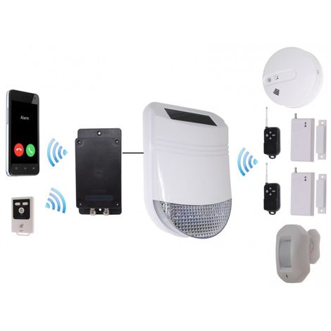 HY Solar Wireless Siren House Alarm Kit 4 with Battery GSM Dialler - No SIM Card Thank You [005-6350]