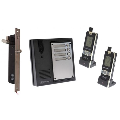 2 x Property 600 metre Wireless UltraCom4 Intercom with Electronic Door Latch - No Battery Back Up Please [006-1850]