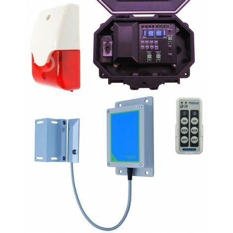 Long Range Wireless Gate Alarm with Outdoor Receiver & Siren & Flashing Strobe Light [004-5450]