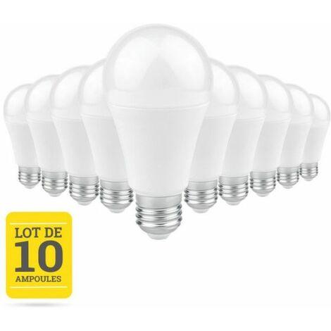 Lot de 10 Ampoules LED E27 9W blanc chaud CREALYS