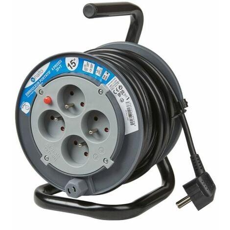 Enrouleur Ménager 15m 3G1.5 mm2 4 Prises 2P+T Avec Disjoncteur Thermique NALTO