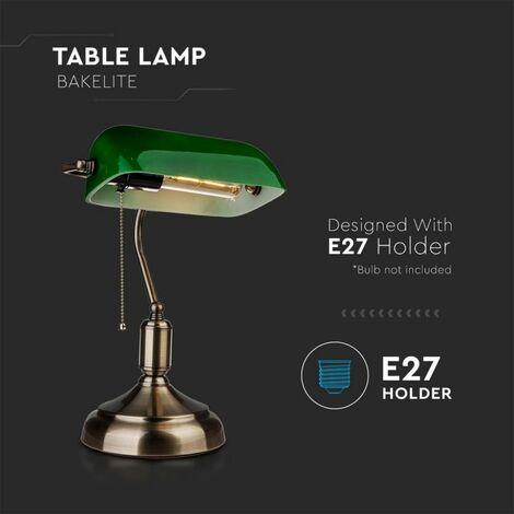 Lampada Led V Tac Da Tavolo Vintage In Metallo Con Portalampada E27 Diffusore Inclinabile Di 90