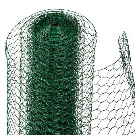 Grillage hexagonal de clôture métallique 0,75 x 10 m Grillage vert de grillage