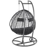 Chaise suspendue poly rotin avec cadre panier balançoire 2 places anthracite