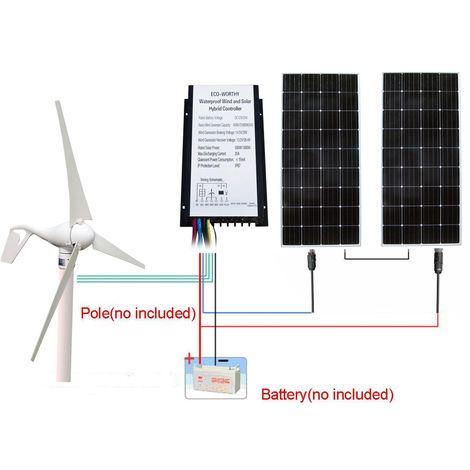 Kit hybride 600W / H 24V: générateur éolien 400W DC avec panneau solaire 200W