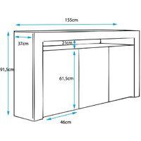 Aparador 3 puertas – Blanco Acabado en Brillo LED 16 colores – 155 x 91,5 x 37cm – AKER