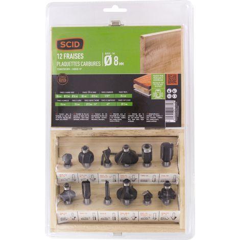 Coffret bois 12 fraises pour défonceuse SCID - Diamètre de queue 8 mm - Noir