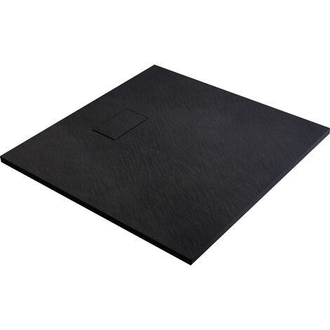 Receveur de douche extra-plat noir effet pierre Gaïa Odyssea - 90 x 90 cm