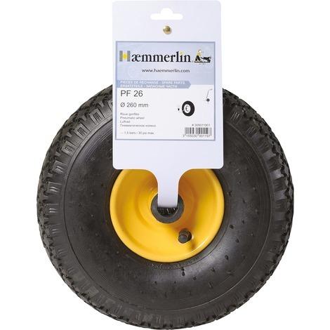Roue gonflable pour diable Haemmerlin - Diamètre 260 mm - Jante jaune Pneu noir