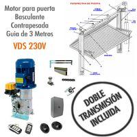 Motor para puerta basculante contrapesada Guía de 3 Metros ( DOBLE TRANSMISION) - VDS 230V.