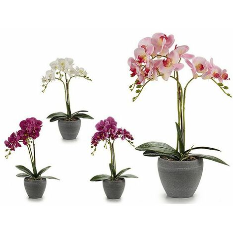 Flores Decorativas Orquídea Plástico Maceta Redonda Gris (25 X 50 X 36 Cm)
