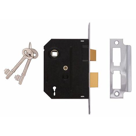 UNION 2 Lever Mortice Sash Locks - 2295 - Chrome Finish 76mm 3in Box