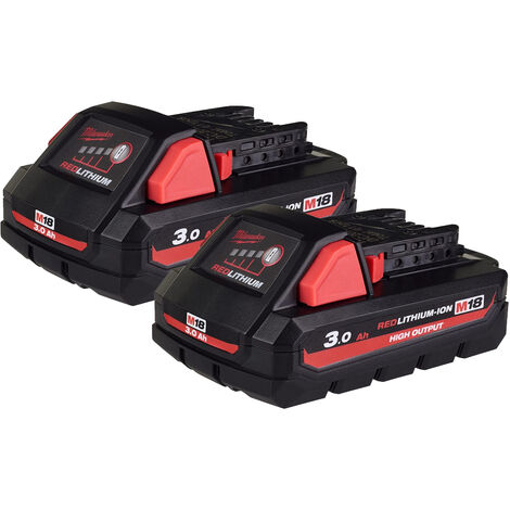 Milwaukee M18HB3X2 2 X 3.0Ah High Output Lithium-Ion Batteries