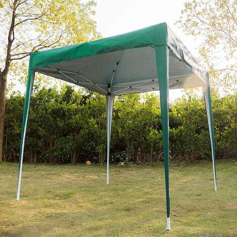 Tonnelle Pop Up Tonnelle imperméable avec Cadre en Acier 210D et Tissu Oxford avec revêtement argenté 3 x 3 m 3 x 3 m Vert - Meerveil