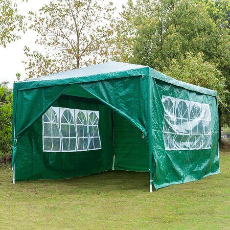 Tonnelle de jardin imperméable avec cadre en acier 210D et 4 panneaux latéraux en tissu Oxford avec revêtement argenté 3 x 4 m 3 x 4 m vert - Meerveil